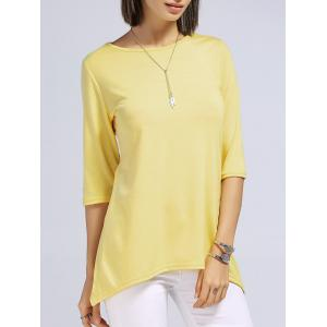 Stylish Round Neck 3/4 Sleeve High Low Women's T-Shirt -