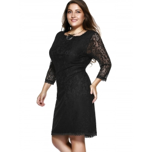 Plus Size 3/4 Sleeve Solid Color Knee-Length Lace Dress - BLACK 9XL