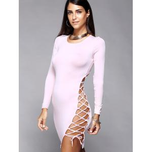 Hollow Out Skinny Long Sleeve Dress - PINK XL