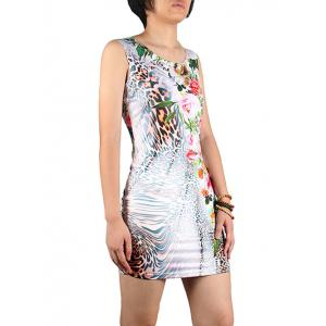 Charming Sleeveless Leopard Print Floral Pattern Women's Dress -