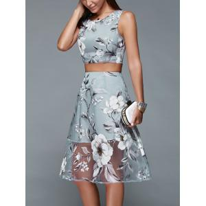 Floral Print Crop Top and Mesh Spliced Skirt Two Piece Prom Dress -