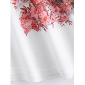 Batwing Sleeve Floral Print White T-Shirt -