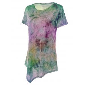 Asymmetrical Long Tie Dye T-Shirt - PINK AND PURPLE XL
