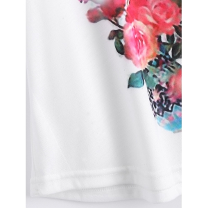 White Batwing Sleeve Floral Print T-Shirt -
