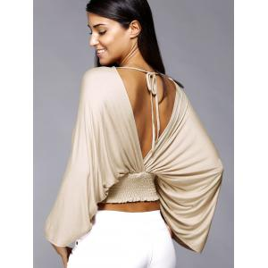 Plunge Neck Backless Dolman Sleeve Stretched Waist Cropped Blouse -