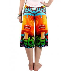 Cute Elastic Waist Candy Print Women's Wide Leg Pants -