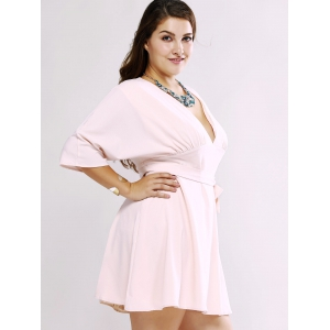 Plus Size Chic Tie Front Ruched Dress -