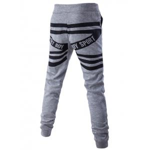 Lace-Up Back Stripes Beam Feet JoggerPants -