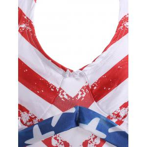 Halter Backless American Flag Tankini with Padded Cups - BLUE AND RED XL