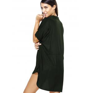 Hi Low Loose Pure Color Boyfriend Shirt Dress - ARMY GREEN XL