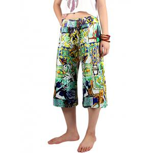 Casual Elastic Waist Printed Women's Wide Leg Pants -