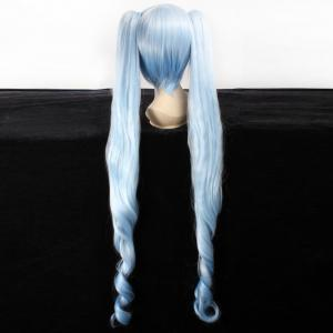 Fashion Synthetic Tail Slightly Curled Long with Bunches Sky Blue Snow V Hatsune Miku Cosplay Wig -