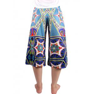 Trendy Elastic Waist Printed Women's Wide Leg Pants -