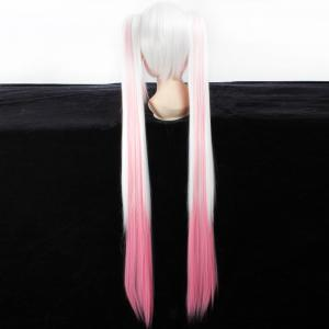 Fashion White Gradient Pink Synthetic Straight Long with Bunches QB Hatsune Miku Cosplay Wig -