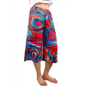 Casual Elastic Waist Abstract Print Women's Wide Leg Pants -