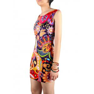 Charming Abstract Floral Print Skinny Women's Dress -