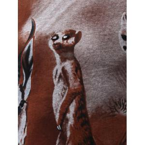3D Animal Print V-Neck Short Sleeve For Men - COFFEE 2XL