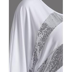 Sequin Embellished Loose Top - WHITE 2XL