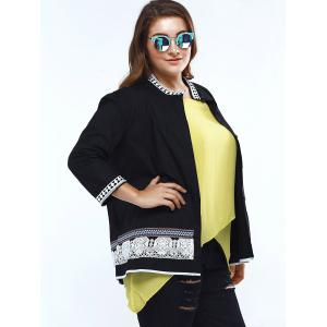 Sweet Stand Collar Lace Decorated 3/4 Sleeve Plus Size Blouse For Women -