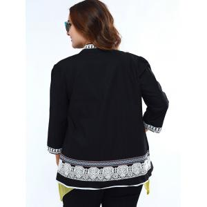 Sweet Stand Collar Lace Decorated 3/4 Sleeve Plus Size Blouse For Women - BLACK 5XL