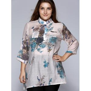 Oversized Ethnic Stand Collar Floral Print Blouse -