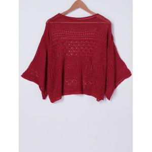 Stylish RoundNeck HollowOut Batwing Sleeve Top For Women -