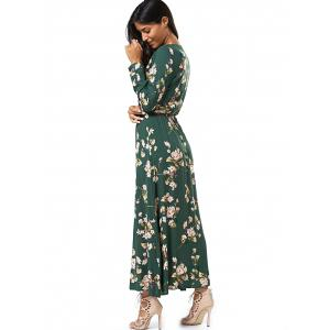 Long Sleeve Buttoned Floral Print Women's Maxi Dress - GREEN M