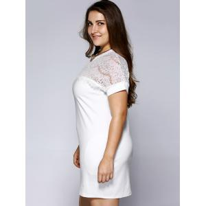 Plus Size Brief Lace Patchwork Baggy Dress - WHITE 5XL
