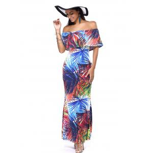 Off The Shoulder Tropical Print Slimming Maxi Dress -