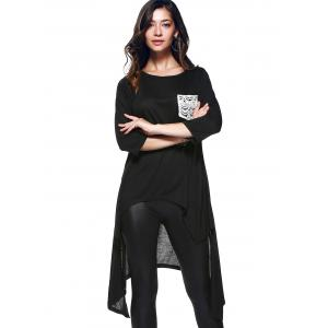 Chic 3/4 Sleeve Asymmetrical Patch Design Women's T-Shirt -