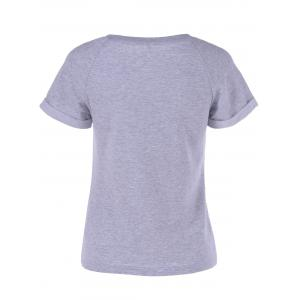 Fashionable Short Sleeves Round Neck Lace Splicing T-Shirt For Women -