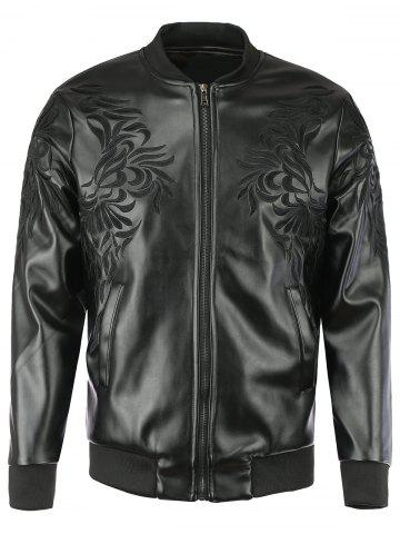 Fancy Floral Embroidered Stand Collar Faux Leather Jacket For Men