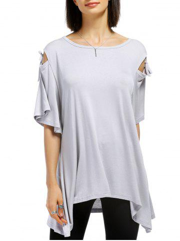 Trendy Casual Solid Color Shoulder Cut Out Tied Pullover T-Shirt For Women LIGHT GRAY XL