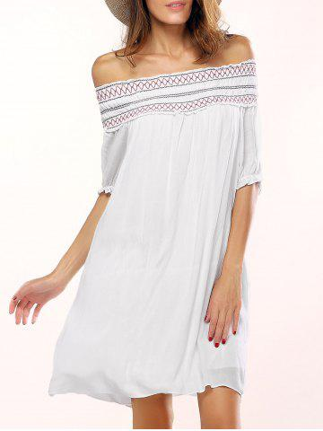 Hot Off The Shoulder Geometric Embroidered Shift Dress