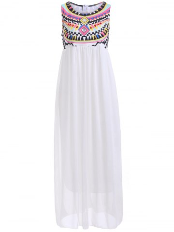 Outfits Bohemian Rhinestone Chiffon Casual Summer Maxi Dress WHITE XL