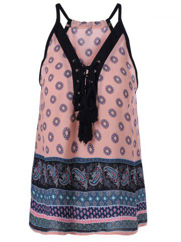 New Ethnic Lace Up Spaghetti Strap Tank Top For Women