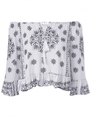 Online Ethnic Style Tie Neck Print Off The Shoulder Crop Top For Women
