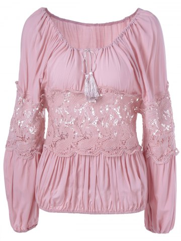 Latest Stylish Tie Neck Lace Panelled Blouse For Women