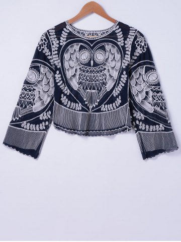 Affordable Stylish Owl Embroidery Round Neck Blouse For Women
