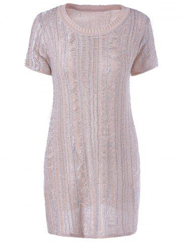 Cheap Stylish RoundNeck Short Sleeves Knit Dress For Women