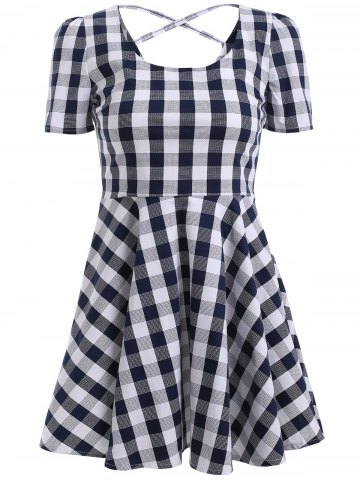 Shops Chic Gingham Cut Out Back Dress For Women