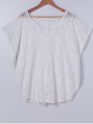 Shops Stylish Scoop Neck Lace Cover Up For Women
