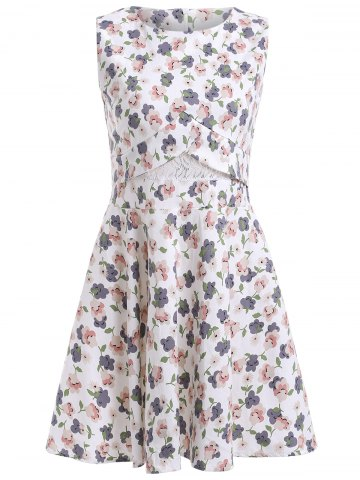 Latest Stylish Floral Print Lace RoundNeck Sleeveless Dress For Women