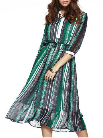 Cheap Striped Elastic Waist Chiffon Flowing Dress