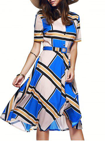 Buy Color Block Tie Belt Buttoned Dress