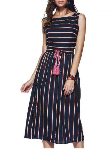 Hot Drawstring Striped Side Button Dress