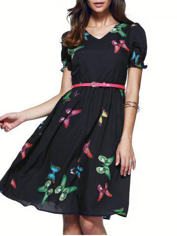 Chic Puff Sleeve Butterfly Pattern Belted Dress