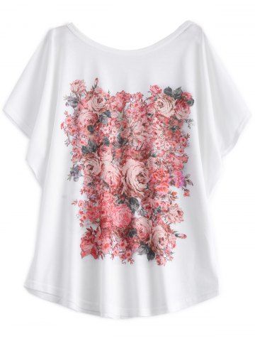 Fancy Batwing Sleeve Floral Print White T-Shirt