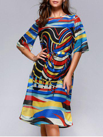 Trendy Brief Women's Hit Color Printed Loose Dress