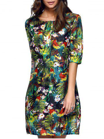 Affordable Stylish Women's Half Sleeves Tropical Print Loose Dress